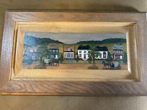 "Shery Marchewka 1992 ""Amish Farm Folk Art Scene"" Oil Painting #2- Signed/Framed"
