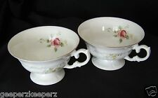 Bone China Footed Tea/ Coffee Cups Two (2) ROSES Floral WASIEL Poland