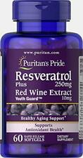 Puritans Pride Resveratrol 250 mg, 60 Count, Supports Sugar Metabolism