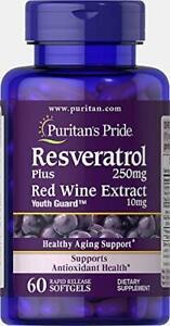Puritans Pride Resveratrol 250 mg, 60 Count, Supports Sugar Metabolism