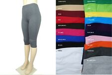 NEW COTTON SPANDEX GYM  YOGA SPORTS CAPRI LEGGING REGULAR PLUS 20 COLORS  S-5X