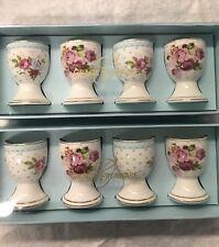 Grace's Teaware set of 8 Easter Egg Cups Pink Roses Aqua Porcelain Egg Holders