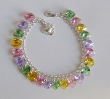 Pastel AB Heart Charm Bracelet made with Swarovski & Solid 925 Sterling Silver