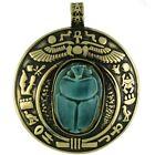 Bronze Egyptian Scarab  Stone Pendant Necklace