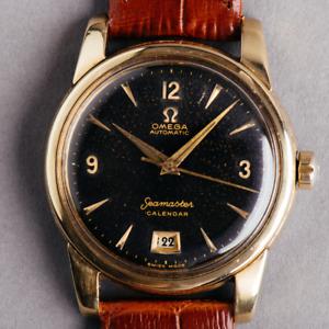 1954 Omega Seamaster Calendar watch rare black interstellar dial @WatchAdoption