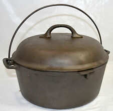 """Old Cast Iron Dutch Oven Pot Favorite Piqua Ware with Lid  10 1/8"""" x 4 1/8"""" Tall"""