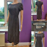 LAURA ASHLEY Ditsy Short Sleeve Midi Dress Size 10 Dark Grey/Brown Brill Cond