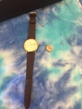 Geneve 14k Gold Watch With Leather Band