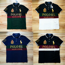 Men Polo Ralph Lauren Mesh Polo Shirt Gold POLO RL Big Pony - CUSTOM SLIM FIT