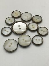 Vintage Brass And Pearl Buttons Lot Of 11