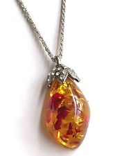 "Silver Necklace Simulated Amber Honey Brown Plated Pendant 22"" Long Plus Size"
