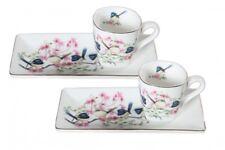 Set of 2 Fine Bone China Australian Birds Blue Wren 90cc Cup & Saucer GIFT