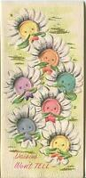 VINTAGE SMILING SEWING BUTTONS FACES DAISIES GARDEN FLOWERS CUTE CARD ART PRINT