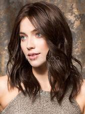 100% Echthaar Perücke Mittel Lang Braun Gewellt Perücke braunen Perücken Wig