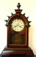 Junghans Antike seltene Pendule Schwarz-Braun Holz Tischuhr Kaminuhr um 1880