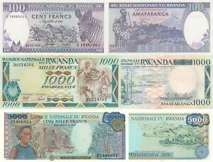 Rwanda 3 Note Set: 100 to 5000 Francs (1988/1989) - p19,p21,p22 UNC