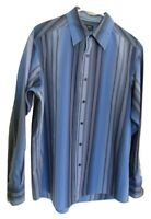 Axcess Men's Size L Large Blue Striped Long Sleeve 100% Cotton Shirt