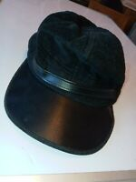 Black corduroy/leather look made in USA Baseball Cap stretchable trucker's HAT