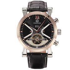 Vintage Men Army Gold Skeleton Automatic Mechanical Movement Leather Wrist Watch