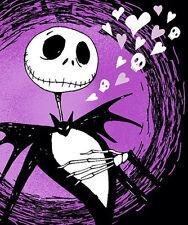 NEW! Disney Nightmare Before Christmas Jack Purple Hearts Plush Throw Blanket