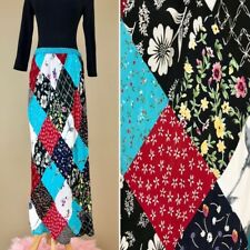 Vintage 90s Requiremens Hippie Boho Patchwork Floral Print Rayon Maxi Skirt 8 M