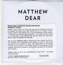 (DD873) Matthew Dear, Earthforms - 2012 DJ CD