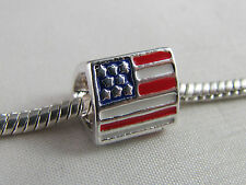 STARS & STRIPES/US FLAG SILVER & ENAMEL CHARM FOR EUROPEAN STYLE CHARM BRACELETS