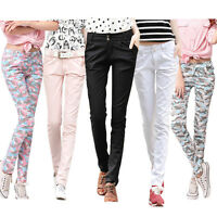 New Women Full Length Coloured Casual Harem Pants Skinny Fit Trousers  SIZE 6-14