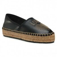Love Moschino Women's Black Leather Platform Heart Espadrilles Shoes