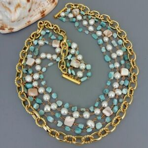 """5 Strands Cultured White Pearl Blue Larimar Shell Rosary Chain Necklace 18.5"""""""