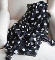 Women's Fashion Long Wrap Lady Shawl Black White Polka Dot Chiffon Scarf Scarves