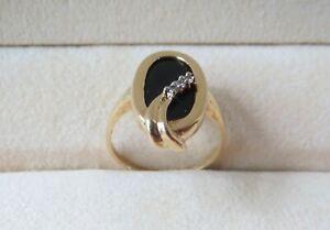 14k Yellow Gold Black Onyx Diamonds Ring 3.12 Grams Size 5 1/2