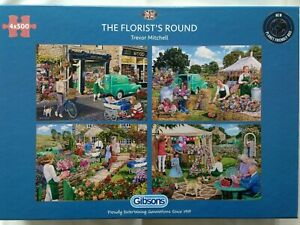 Brand New Gibsons 4 x 500 Piece Jigsaw Puzzles - THE FLORIST'S ROUND