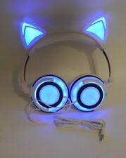 Blue White Cat Ear Headphones USB Rechargeable LED Light Up Foldable DJ