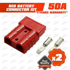 2X 50A Anderson Style Plug Premium Connector Exterior DC Power SOLAR CARAVAN RED