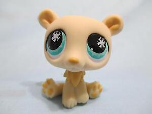 Littlest Pet Shop Yellow Polar Bear Cream Blue Eyes 759 Authentic