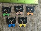 """Vintage Repro Cat,Scarf Halloween Cardstock Decoration, 5 Colors, Sizes 1"""" to 3"""""""