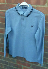 Men's Grey FRED PERRY Long Sleeve Polo Shirt SMALL