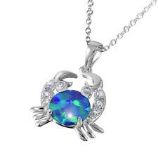 Collar de plata de ley con / Azul Ópalo & PIEDRAS DE CIRCONITA cangrejo Colgante