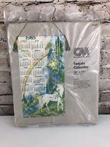 1983 Calendar 16 x 30 Sequin Unicorn New Vintage Birthday Gift Columbia Minerva