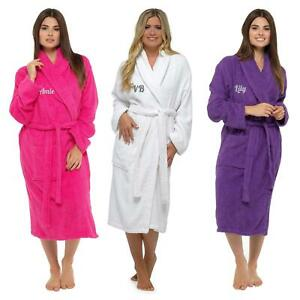Womens Ladies Personalised Towelling Bath Robe Gown 100% Cotton Terry Spa Gift