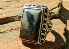 FRED HARVEY ERA NAVAJO STERLING & PICTURE AGATE MENS STYLE RING size 9.75 GREAT