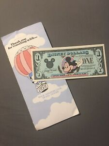 UNC 1990 Disney Dollars Rare D-A Series Vintage Mickey Mint $1 Bill W/ Envelope