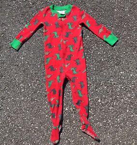 Hanna Andersson 85 size 2 dinosaur sleeper organic pajamas one piece