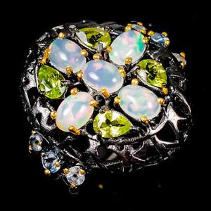 7x5mm Beauty Rainbow SET Opal Ring Silver 925 Sterling  Size 7 /R178505