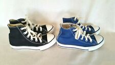 2 Pairs Converse Chuck Taylor Boys Girls Blue Black High Tops Sneakers Shoes 13