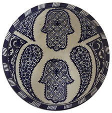 "Moroccan Khamsa Hamsa Hand Cobalt Blue & White Wall Decor Serving Plate 12""ø"