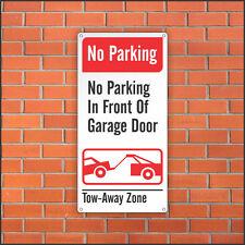 No Parking Sign - No Parking in Front of Garage Door - 12 x 24 Aluminum Sign