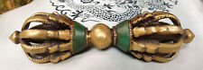 Very Beautiful Massive Brass Vajra/Dorje from Nepal 4 7/8in with Turquoise
