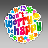 funny car bumper sticker dont worry be happy hippie flower child 94.5 x 96 mm